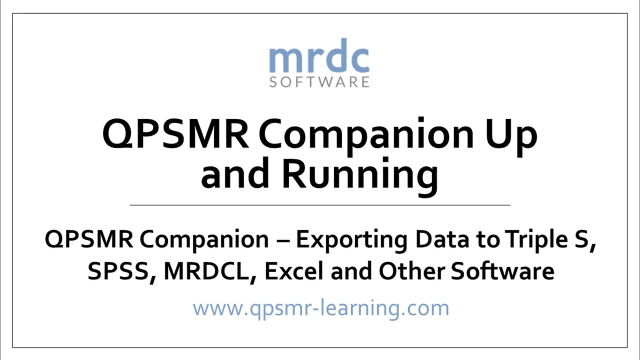 Exporting data to Triple S, SPSS, MRDCL, Excel and other software
