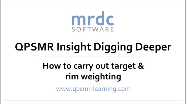 How to carry out target and rim weighting