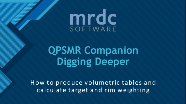 How to produce volumetric tables and calculate target and rim weighting