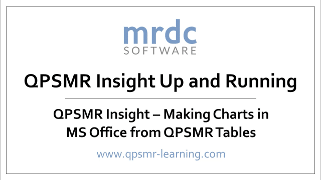 QPSMR Insight Making charts in MS Office from QPSMR tables