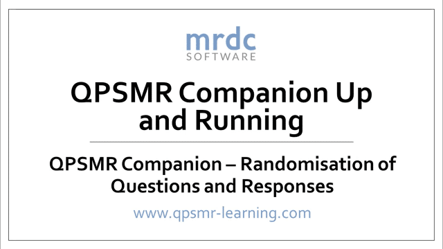 Randomisation of Questions and Responses