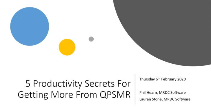 QPSMR Productivity Secrets