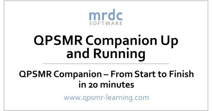 QPSMR from start to finish in less than 20 minutes