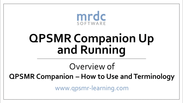 Overview of QPSMR Companion and basic terminology
