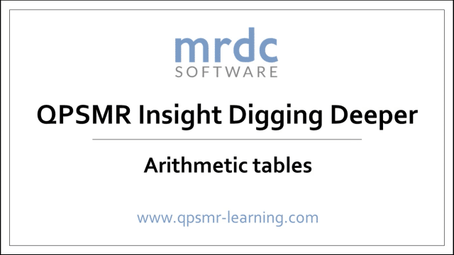 Arithmetic tables