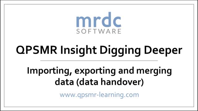 Importing, exporting and merging data data handover